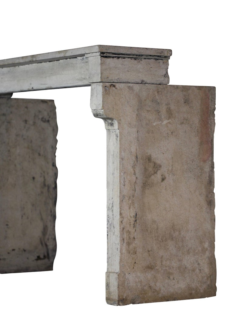 19th Century Fine French Rustic Limestone Antique Fireplace Surround For Sale 3