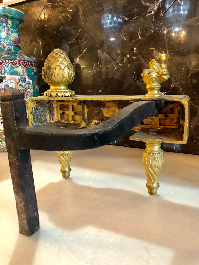 19th Century Fine Pair of Bronze Dore Louis XVI Style Andirons / Chenets For Sale 4