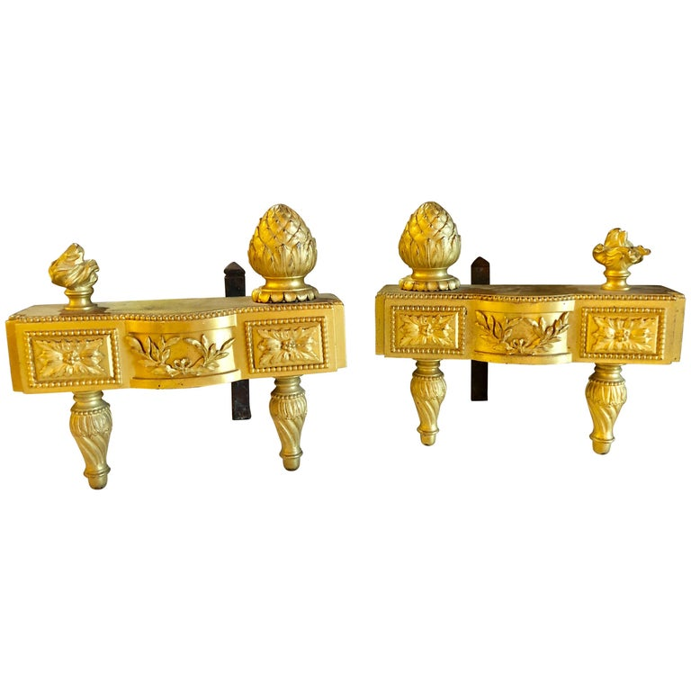 19th Century Fine Pair of Bronze Dore Louis XVI Style Andirons / Chenets For Sale