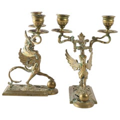 19th Century Fine Pair of Candleholders With Two Arms and Chimeras with Wings