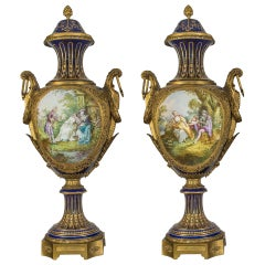 19th Century Fine Quality Pair of Sèvres Style Porcelain Vases
