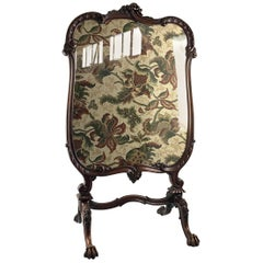 19th Century Fine Tapestry Firescreen in a Carved Walnut Fram