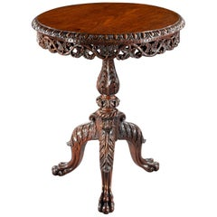 19th Century Finely Carved Anglo Indian Rosewood Tilt-Top Tripod Table