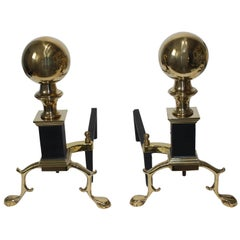 19th Century Fireplace Accessories, Pair of Regency Style Andirons