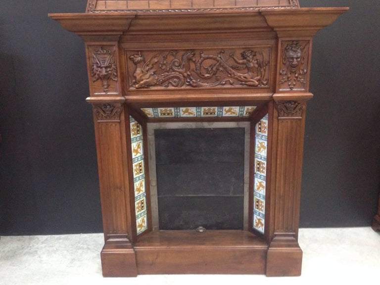Spanish 19th Century Fireplace Chimney in Walnut and Ceramic Finish For Sale