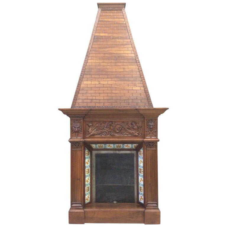 19th Century Fireplace Chimney in Walnut and Ceramic Finish For Sale