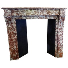 19th Century Fireplace in Vivid-Red Marble