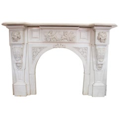 19th Century Fireplace Mantel in Carrara Marble