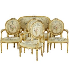 19th Century Five-Piece Carved Wood and Gilt Salon Suite