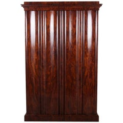 19th Century Flame Mahogany Armoire Wardrobe