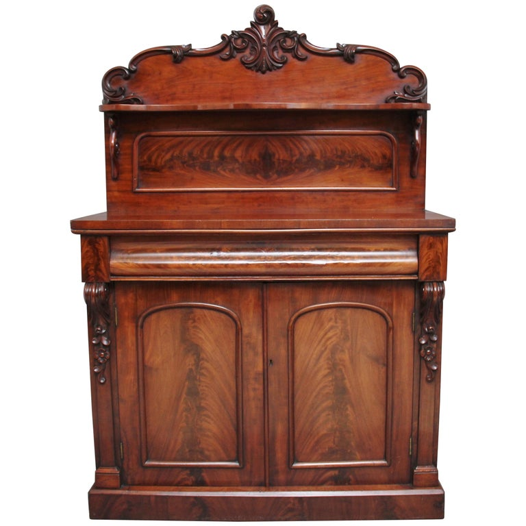 19th Century Flame Mahogany Chiffonier For Sale