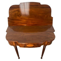 19th Century Flamed Mahogany Flip Top Sheraton Style Side Table