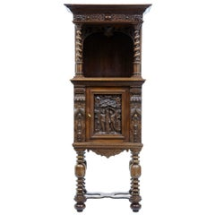 19th Century Flemish Carved Oak Hall Cupboard on Stand