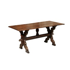 19th Century Flemish Oak Trestle Dining Table