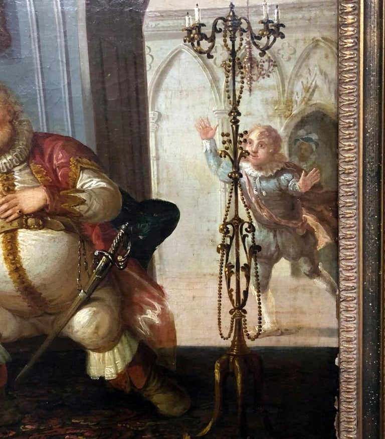 Painted 19th Century Flemish Painting Indoor Scene For Sale
