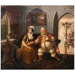 19th Century Flemish Painting Indoor Scene