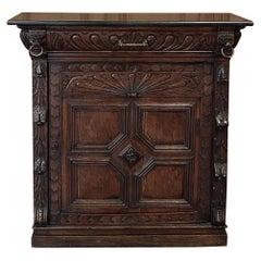 19th Century Flemish Renaissance Marble-Top Confiturier, Cabinet