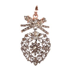 "19th Century Flemish ""Vlaams"" Diamond Heart Pendant with 14k Rose Gold Mounting"