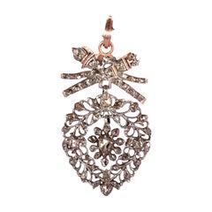 "19th Century Flemish ""Vlaams"" Diamond Heart Pendant with 14k Rose Gold Mounting"