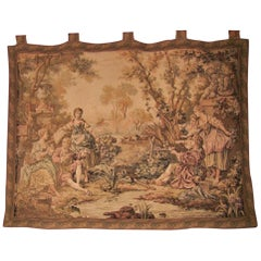 19th Century Flemish Wall Tapestry of Country Scene