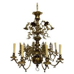19th Century Flemmish Brass Chandelier