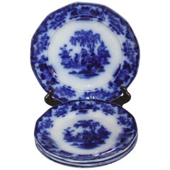 """19th Century Flo-Blue """"Scinde"""" Pattern Luncheon Plates, 4 Pieces"""