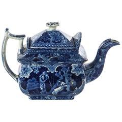 19th Century Flo Blue Teapot, Deep Rich Color