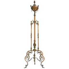 19th Century Floor Lamp Copper and Gilt Metal Oil Lamp Renaissance Revival