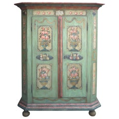 19th Century Floral and Fruit Painted Handpainted Two Doors Wardrobe, 1828