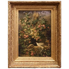 19th Century Floral Oil Painting in Carved Gilt Frame with Mother and Child