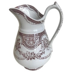 19th Century Floral Ribbon Banded Ironstone Pitcher