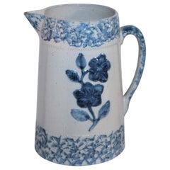 19th Century Floral Sponge Ware Pitcher