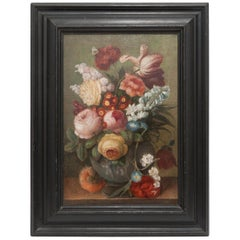 19th Century Floral Still Life Oil Painting in Black Wood Frame