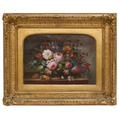 19th Century Floral Still Life Oil Painting Set in Ornate Gold Frame