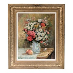 19th Century Floral Still Life with Pears, Signed K. Kengett in Original Frame