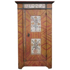 19th Century Floral Yellow and Light Red Painted Cabinet, 1833
