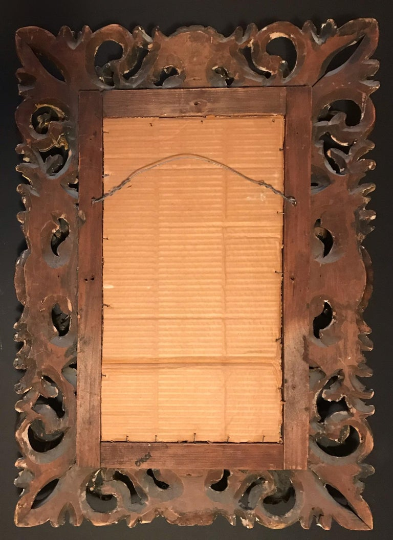 19th Century Florentine Baroque Style Giltwood Hand Carved Mirror Frame For Sale 5