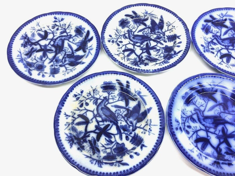 A set of five porcelain flow blue plates, made by Villeroy & Boch, Germany, circa 1890s or older. Images show a hand painted Pheasant pattern. This is a set of six plates, very nice for your table. Signed on the base.