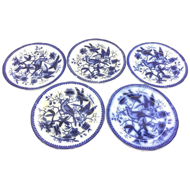 19th Century Flow Blue V&B Villeroy Boch Lot of 5 Plates Pheasant Series Decor For Sale