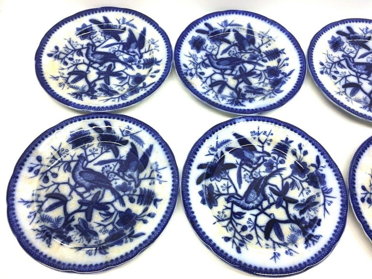 A set of six porcelain flow blue plates, made by Villeroy and Boch, Germany, circa 1890s or older.  Images show a hand painted Pheasant pattern. This is a set of six plates, very nice for your table. Signed on the base.