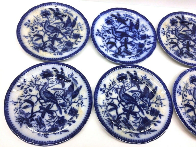 A set of six porcelain flow blue plates, made by Villeroy & Boch, Germany, circa 1890s or older. Images show a hand painted Pheasant pattern. This is a set of six plates, very nice for your table. Signed on the base.