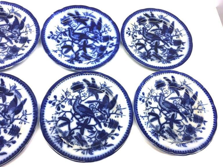 Biedermeier 19th Century Flow Blue V&B Villeroy Boch Lot of 6 Plates Pheasant Series Decor For Sale