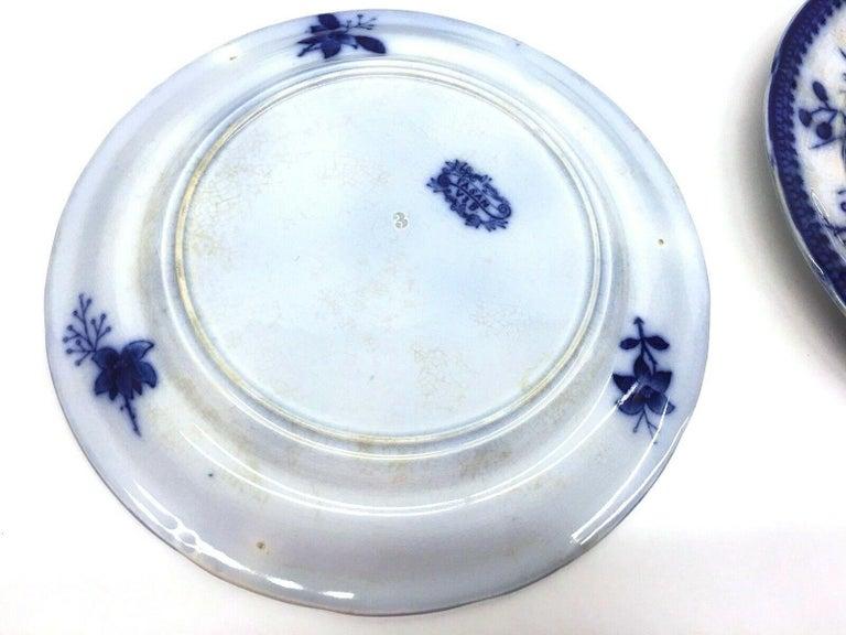 German 19th Century Flow Blue V&B Villeroy Boch Lot of 6 Plates Pheasant Series Decor For Sale