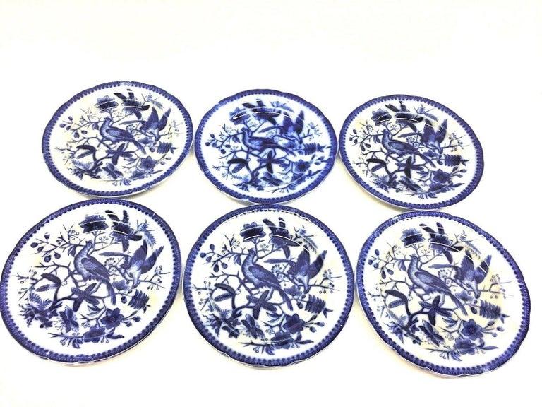 19th Century Flow Blue V&B Villeroy Boch Lot of 6 Plates Pheasant Series Decor In Good Condition For Sale In Nürnberg, DE