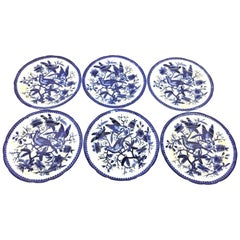 19th Century Flow Blue V&B Villeroy Boch Lot of 6 Plates Pheasant Series Decor