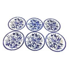 19th Century Flow Blue V&B Villeroy Boch Lot of 6 Plates Pheasant Series Decor