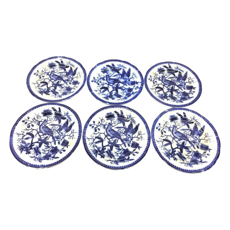 19th Century Flow Blue V&B Villeroy Boch Lot of 6 Plates Pheasant Series Decor For Sale