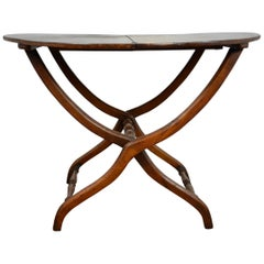 19th Century Folding Round Campaign Table