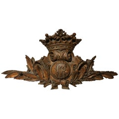 19th Century Foliate Carved Wood and Composition Crest with Crown