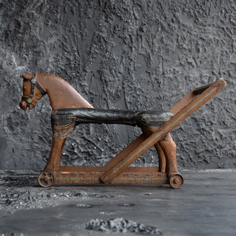 19th Century Folk Art Child's English Horse Toy In Fair Condition For Sale In London, GB